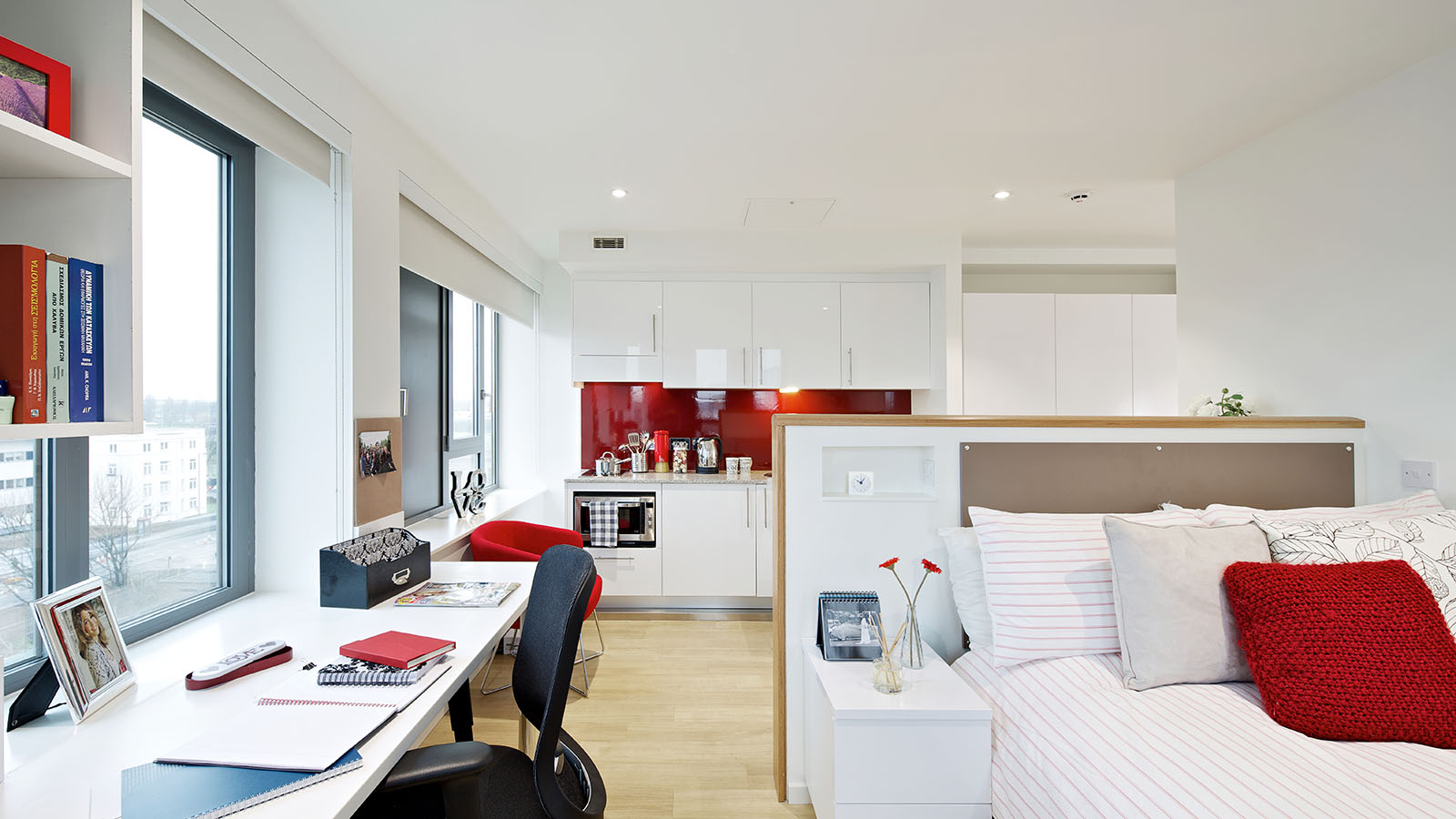 Premium studio with bed, desk and kitchen at Wood Lane Studios
