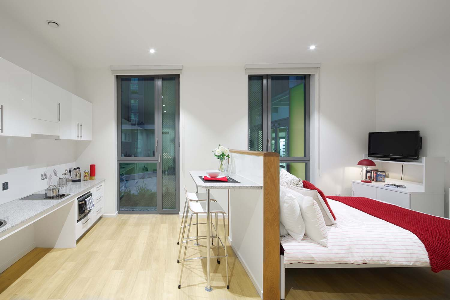 Delux accessible bedroom at GradPad Wood Lane Studios