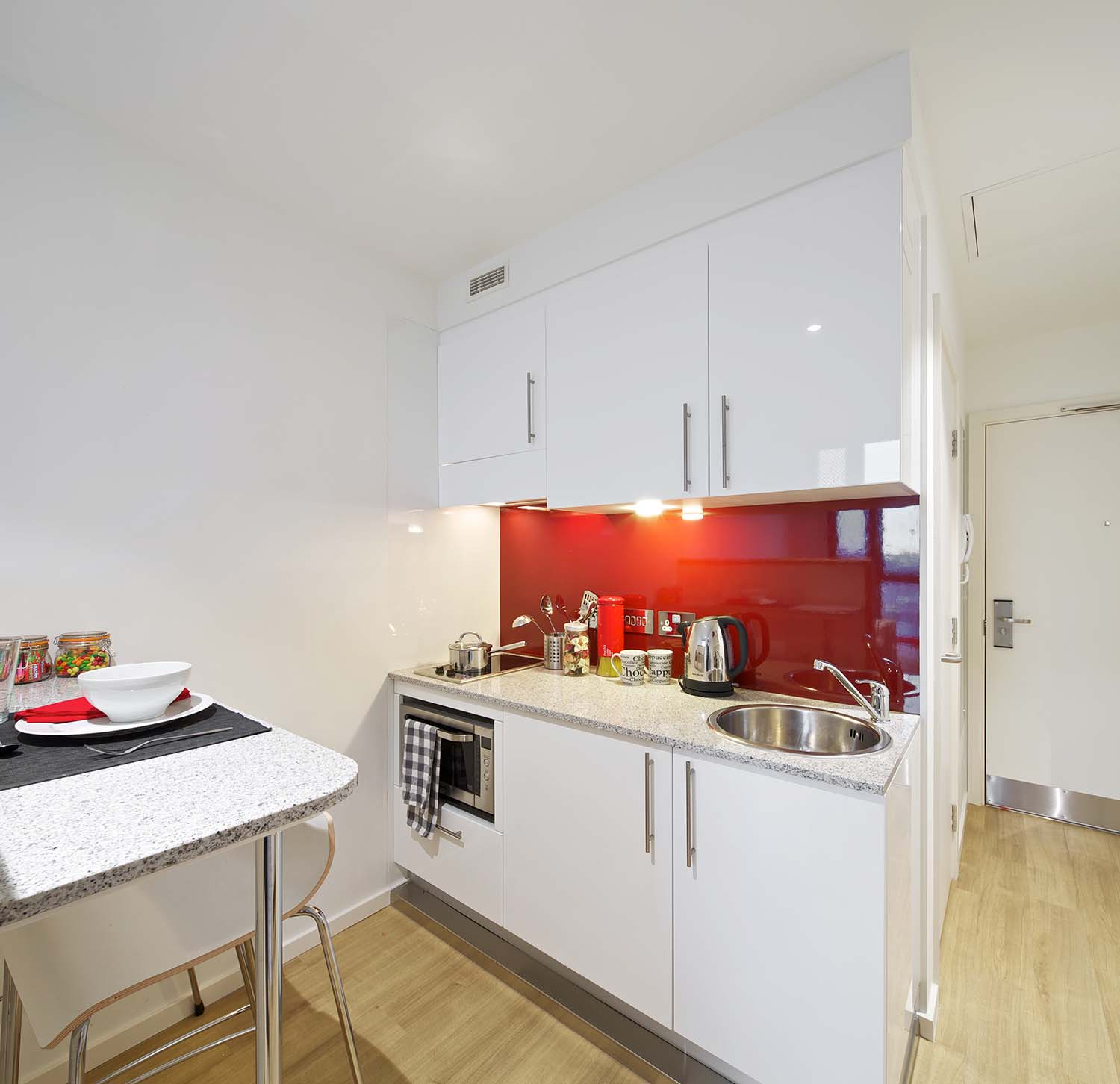 Kitchenette in the standard studio at GradPad Wood Lane Studios